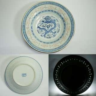 Vintage antique chinese hand painted dragon blue and white porcelain plate 米通盘