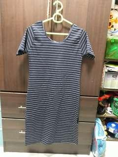 Navy blue stripes casual dress