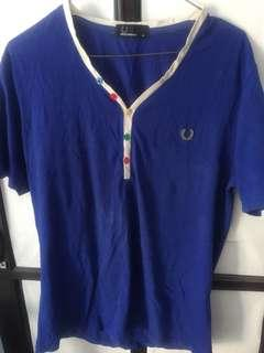 fred perry blue V-Neck