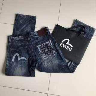 EVISU STRAIGHT CUT DARK BLUE DENIM JEANS LONG PANTS