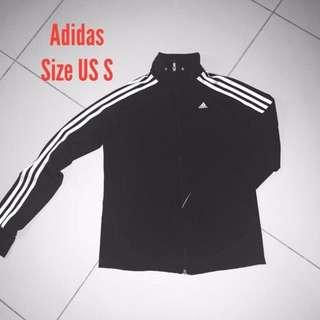 🆕ADIDAS trainer jogging long sleeves black 3 white stripes top
