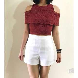 High Waist White Shorts size M