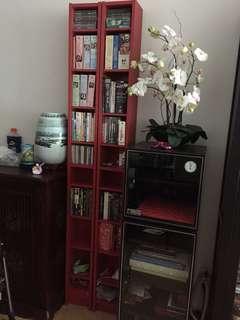 IKEA two red shelf units