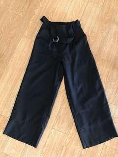 Navy dark blue long wide leg cullotte style pants.