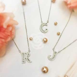 純銀仿鑽字母頸鏈