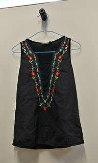 🚚 3 FOR $10 Embroidered  Black Sleeveless Top