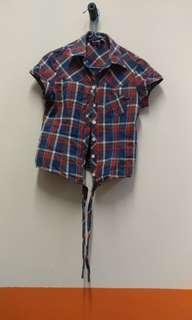 🚚 3 FOR $10 Flannel Crop Top Front Tie