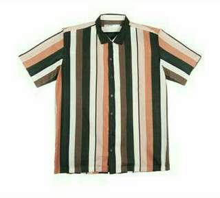 Vertical Striped Button down Polo
