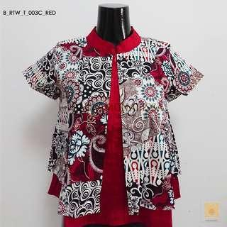 Batik Mandarin Collar in Red
