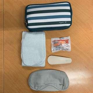 Cathay Pacific Airways Limited x Agnes B Business Class Amenity Kit Set Black Pouch 國泰航空公司 商務艙 護理套裝 化妝袋