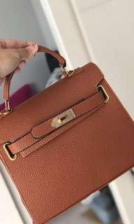 Camel Brown Leather Bag PREMIUM IMPORT