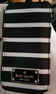 Black & White Wilson Road French Kate Spade Stripe ID Holder