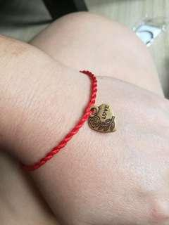 vintage Chinese style red tie up string bracelet lucky love charm rose flower traditional gift