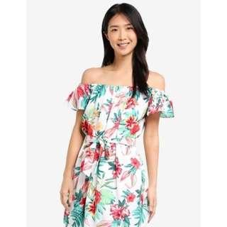 FREE POS BNWT Zalora Off Shoulder Tropical Dress