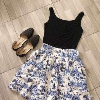 Blue and White Floral Skirt