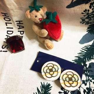 🚚 日本 小香 CLATHAS 透明山茶花夾式耳環 壓克力