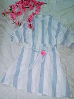 Preloved Korean Blue Stripe Dress
