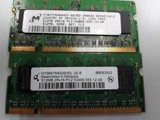 Ram DDR2 PC2-5300 512MB sodimm