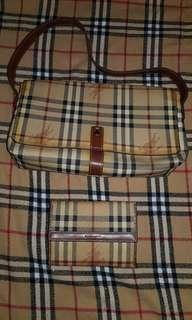 Authentic Burberry haymarket shoulder bag and wallet