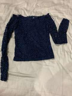 Lace blue colour top long sleeve
