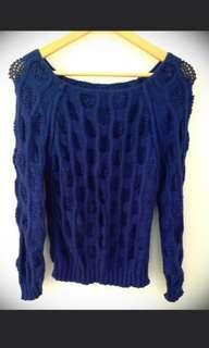 C 深藍色寶藍色 粗冷針織上衣 dark blue knit top