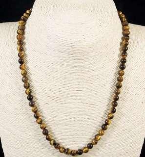 Stone Beaded Necklace Natural Gemstone UNISEX(Tiger's Eye)