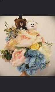 line friends 婚禮公仔花球 熊大 可妮兔兔 立體 3D wedding flower cony brown pantone 糖果色 田園系 婚禮外拍pre wedding march in 進場