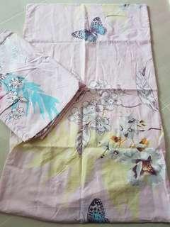1 pillow case and 1 bolster case (pink garden)