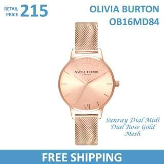 Olivia Burton Ladies Watch Sunray Dial Midi Dial Rose Gold Mesh OB16MD84