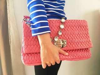 Miu Miu Pink Leather Matelasse Embellished Large Shoulder Bag #payday30