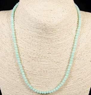 Stone Beaded Necklace Natural Gemstone(Cyan Jade)