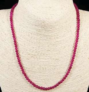 Stone Beaded Necklace Natural Gemstone(Puchsia Jade)