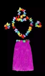 Hawaiian Aloha Floral Pom Pom Skirt Halloween Year End Party