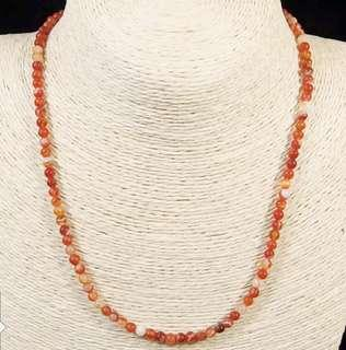 Stone Beaded Necklace Natural Gemstone(Red Agate)