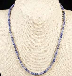 Stone Beaded Necklace Natural Gemstone(Blue Vein Jasper)