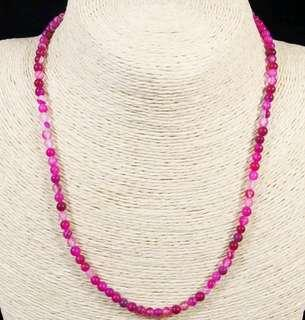 Stone Beaded Necklace Natural Gemstone(Rose Red Agate)