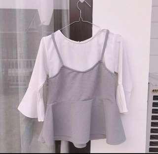 Korean Two Side Ashy Grey Blouse Inner
