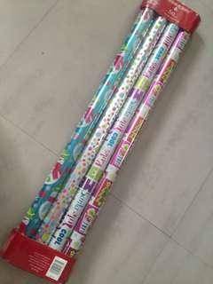4 Rolls Christmas Gift Foil Wrap