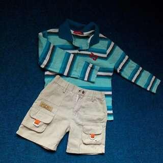 set boy cloths long sleeve t-shirt + khaki shorts #TGV3