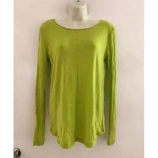 fits size 8 Vgc ladies Kookai lime green cross over back long sleeve knit top lightweight