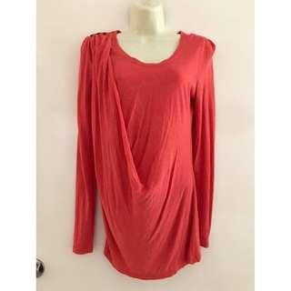 Fits Size 8 Guc ladies Marcs watermelon maternity long sleeve drape top lightweight stretchy