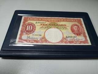 Malaya king George VI 1941 $10