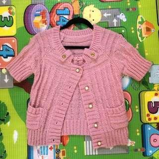 Pink Wool Knitted Short Sleeve Cardigan