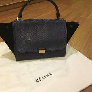 Celine Trapeze Bag Python Skin in Size Medium