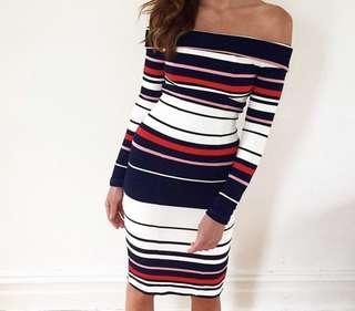 Kookai Striped Ponti  Dress