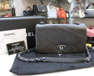 Chanel Grey Quilted Calf Leather Crossbody Bag