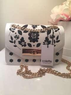 Colette White Embroidered Sally Chain Crossbody Bag