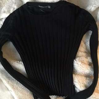 Bershka crop ripped knitted top