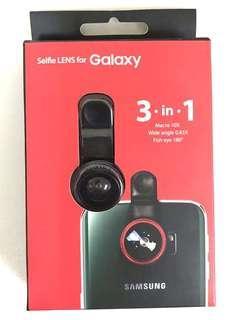 3 合 1 自拍手機廣角微距魚眼鏡頭 3 in 1 Selfie Lens For Galaxy Macro 10X Wide Angle 0.65X Fish Eye 180。