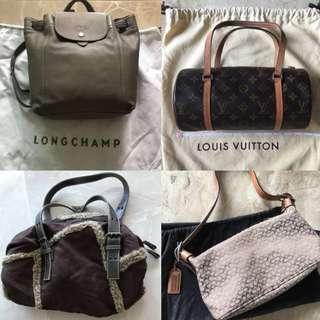 Longchamp LV Coach ... 1st & 2nd Hand brown bags backpack 一二手啡色手袋背包